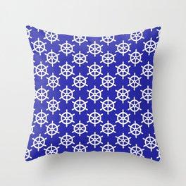 Ship Wheel (White & Navy Blue Pattern) Throw Pillow