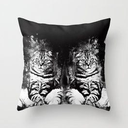 cat sitting like human ws bw Throw Pillow