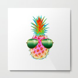 Electric Pineapple with Shades Metal Print