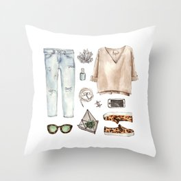 watercolor sketch. fashion outfit, casual style. Throw Pillow