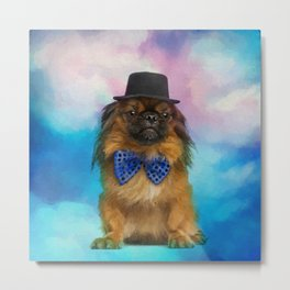 Cute Pekingese dog with bow tie and hat Metal Print
