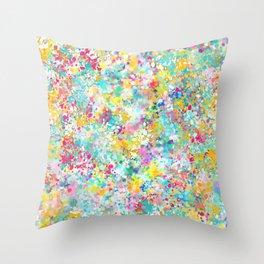 Spring Confetti Brushstrokes Throw Pillow