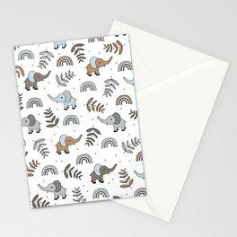 Little Elephant safari rainbow love neutral nursery Stationery Cards