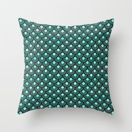 Mermaid Scales in Metallic Turquoise Throw Pillow