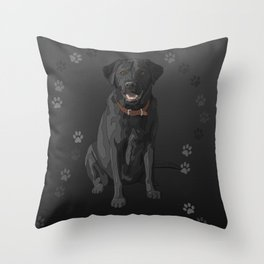Black Labrador Retriever Paw Prints Throw Pillow