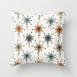 Midcentury Sputnik Starburst Flowers Colorful Throw Pillow