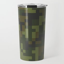 Green Pixel Woodland Camo pattern Travel Mug