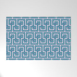 Greek Key - Turquoise Welcome Mat