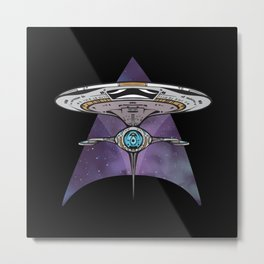 Spaceship Triangle Metal Print