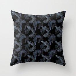 Fern Fronds (Black Glow) - Titanium Throw Pillow