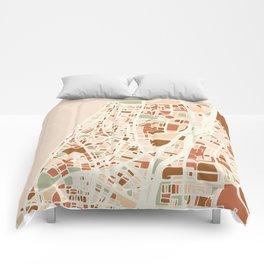 TEL AVIV ISRAEL CITY MAP EARTH TONES Comforters
