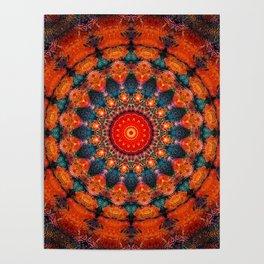 Tangerine Orange Mandala Design Poster