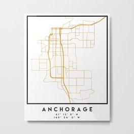ANCHORAGE ALASKA CITY STREET MAP ART Metal Print
