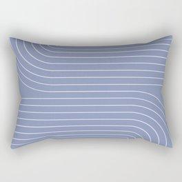 Minimal Line Curvature - Blue Rectangular Pillow