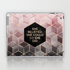 She Believed She Could - Grey Pink Laptop & iPad Skin