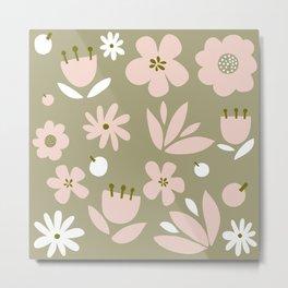 Cute Modern Floral Pattern Design - Retro Colour Print Metal Print
