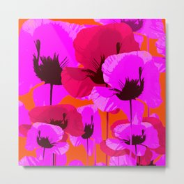 Pink And Red Poppies On A Orange Background - Summer Juicy Color Palette Retro Mood #decor #society6 Metal Print