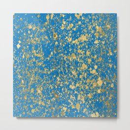 French Blue and Gold Patina Design Metal Print