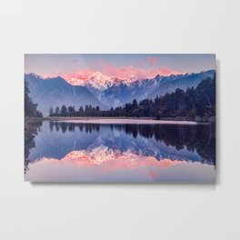 Southern Alps from Lake Matheson, West Coast, New Zealand Metal Print