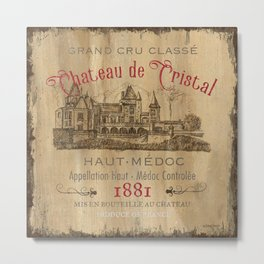 Barrel Wine Label 1 Metal Print