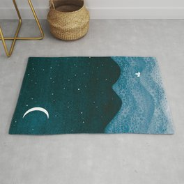ornament ocean, moon & boat Rug