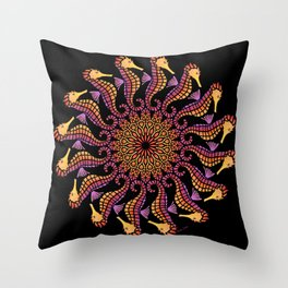 Seahorse Mandala on Black Throw Pillow