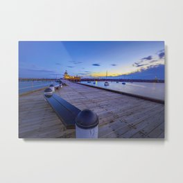 St. Kilda Pier at Dusk with boats in the harbour, and Pavilion in the distance. Metal Print