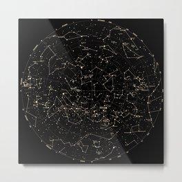 Constellations Map, Stars, Astronomy Cosmos Galaxy Metal Print