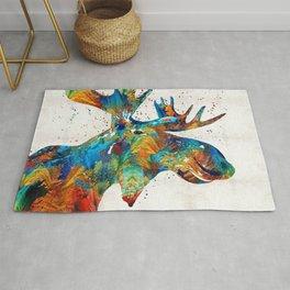 Colorful Moose Art - Confetti - By Sharon Cummings Rug