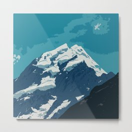 Aoraki Mount Cook glacier summit in summer Metal Print