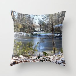 Snowing in Savannah Ga. Throw Pillow