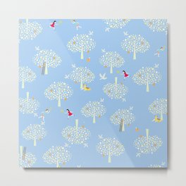 in the apple orchards blue pattern Metal Print
