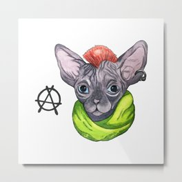 watercolor Cat sphinx and anarchy Metal Print