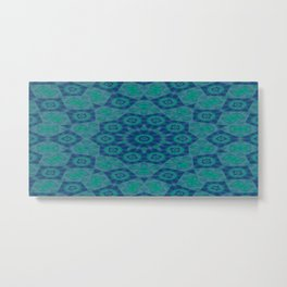 Jade , Aqua and Turquoise Symmetrical Pattern Metal Print
