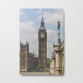 Elizabeth tower and the lights of Westminster bridge Metal Print
