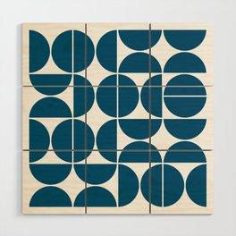 Mid Century Modern Geometric 04 Blue Wood Wall Art