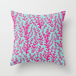 Blue and Purple Pink Floral Gouache Pattern Throw Pillow