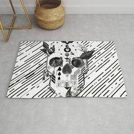 Abstract Skull B&W Rug