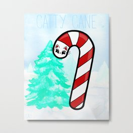 Catty Cane - Candy Cane Kitty Cat Metal Print