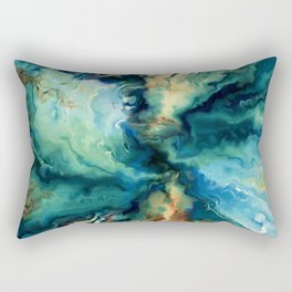 Marbled Ocean Abstract, Navy, Blue, Teal, Green Rectangular Pillow