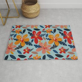 Tropical Holiday Florals – Coral & Blue Rug