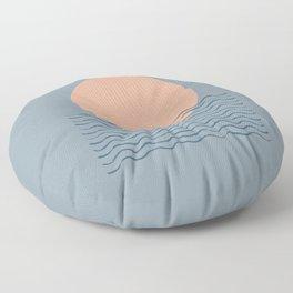 Ocean Wave Sun Blue - Mid Century Modern Floor Pillow