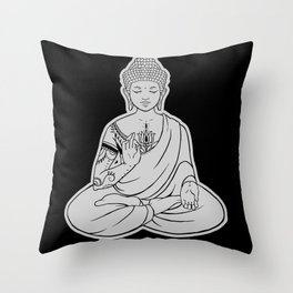 Sitting Buddha is blessing on blissful meditation Throw Pillow