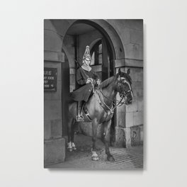 House Calvary in Black and White Horse Guard London England Metal Print