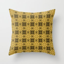 Spicy Mustard Floral Geometric Throw Pillow