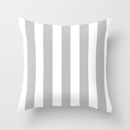 Silver sand grey - solid color - white vertical lines pattern Throw Pillow