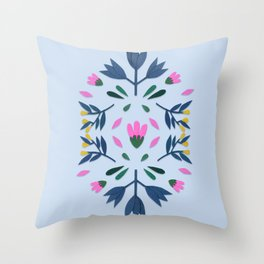 blue folk Throw Pillow