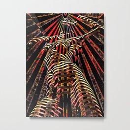 7068-KMA Abstract Feminine Spirit Zebra Striped Woman Powerful Colorful Fine Art Nude Metal Print