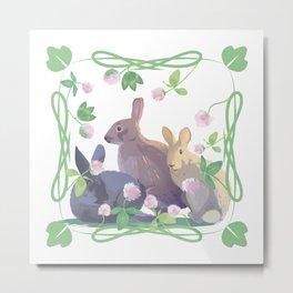 Bunnies and clover Metal Print
