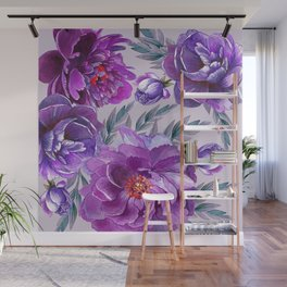 Violet and Purple Flowers Wall Mural